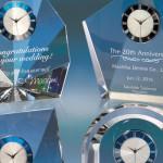 最高級光学ガラス製 表彰楯 時計付デスクアクセサリーシリーズ