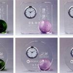 サンドブラスト加工クリスタル時計 ZE-355-1~11