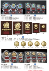 各競技選択楯 MAL-6207・CAL-5543・CAL-5740・MAL-6222・CAL-5569